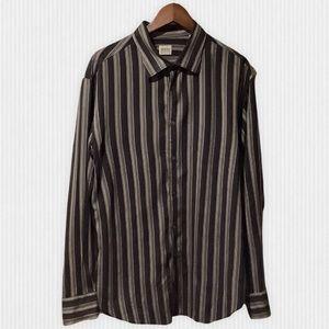 Armani Collezioni Black & Grey Striped Viscose & Silk Dress Shirt XXL